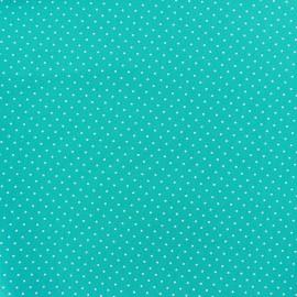 Tissu coton mini pois - blanc/bleu azur x 10cm