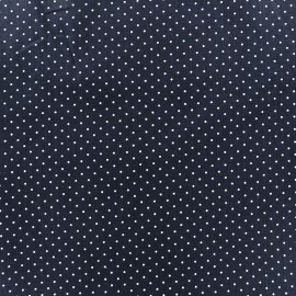 Tissu coton mini pois - blanc/bleu marine x 10cm