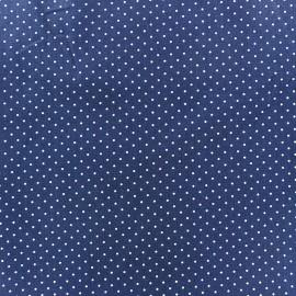 Tissu coton mini pois - blanc/bleu navy x 10cm