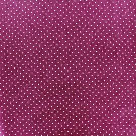Tissu coton mini pois -blanc/violet x 10cm