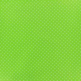 Tissu coton mini pois -blanc/vert clair x 10cm