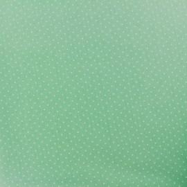Tissu coton mini pois - blanc/vert jade x 10cm