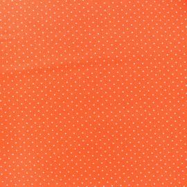 Cotton fabric Mini pois - white/orange x 10cm