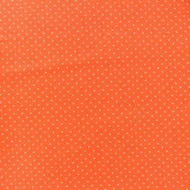 Tissu coton mini pois - blanc/orange x 10cm