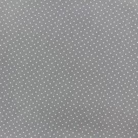 Tissu coton mini pois - blanc/gris x 10cm