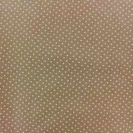 Tissu coton mini pois - blanc/beige foncé x 10cm