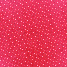 Cotton fabric Mini pois - white/fuchsia x 10cm