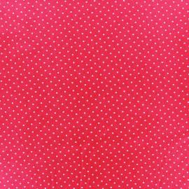 Tissu coton mini pois - blanc/fuchsia x 10cm