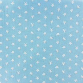 Poppy cotton Fabric - light blue white star x 10cm