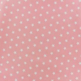 Tissu coton Popeline Poppy - Etoiles blanches - rose clair x 10cm