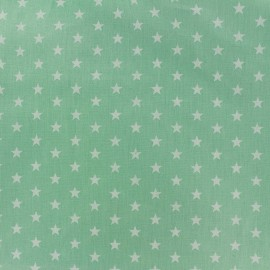 Tissu coton Etoiles - blanc/vert jade x 10cm