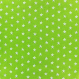 Tissu coton Popeline Poppy - Etoiles blanches - vert clair x 10cm