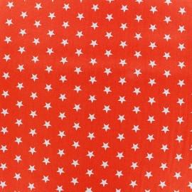Tissu coton Etoiles - blanc/orange x 10cm