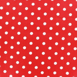 Cotton Fabric pois 7 mm - white/red x 10cm
