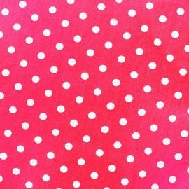 Cotton Fabric pois 7 mm - white/fuchsia x 10cm