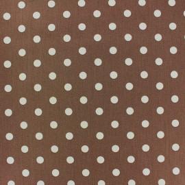 Tissu coton pois 7mm - blanc/beige foncé x 10cm