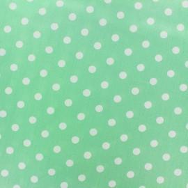 Tissu coton pois 7mm - blanc/vert jade x 10cm