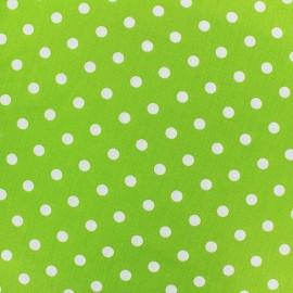 Tissu coton pois 7mm - blanc/vert clair x 10cm