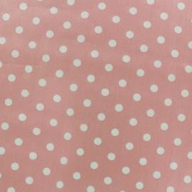 Tissu coton pois 7mm - blanc/rose clair x 10cm
