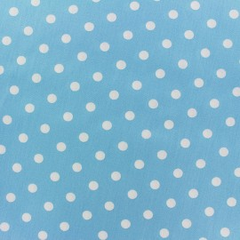 Cotton Fabric pois 7 mm - white/blue light x 10cm