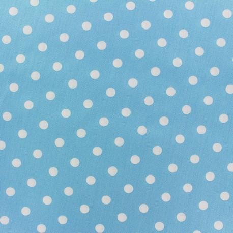 Tissu coton pois 7mm - blanc/bleur clair x 10cm