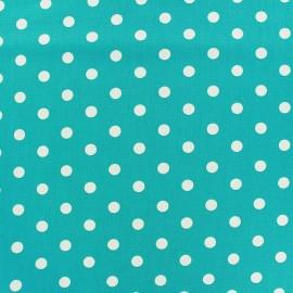 Tissu coton pois 7mm - blanc/bleur azur  x 10cm