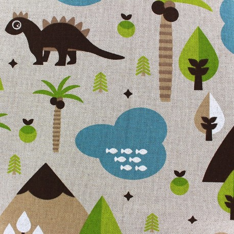 Cotton Canvas Fabric - Dino x 40cm