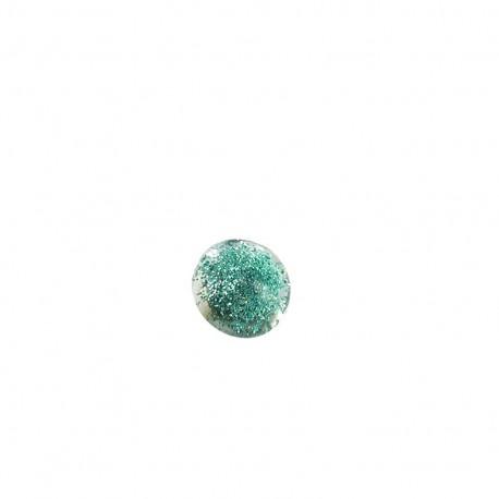 Bouton polyester translucide pailleté - turquoise
