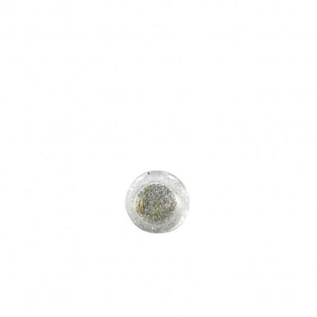 Bouton polyester translucide pailleté - blanc