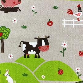 Tissu toile coton - Farm Animals x 56cm
