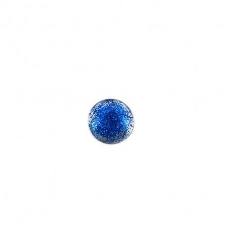 Bouton polyester translucide pailleté - bleu marine
