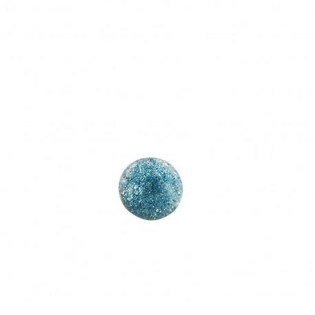 Bouton polyester translucide pailleté - bleu clair
