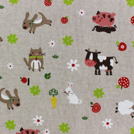 Tissu toile coton - Little Farm Animals x 20cm