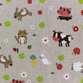 Tissu toile coton - Little Farm Animals x 20cm