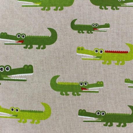 Tissu toile coton - Croco x 10cm