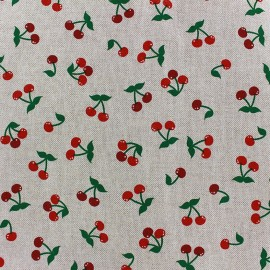 Tissu toile coton - Cerise x 10cm