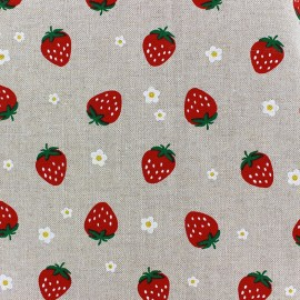 Tissu toile coton - Fraise x 10cm