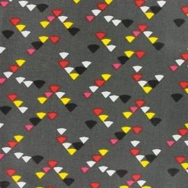 Coated cotton fabric Triangle multi - anthracite x 10cm