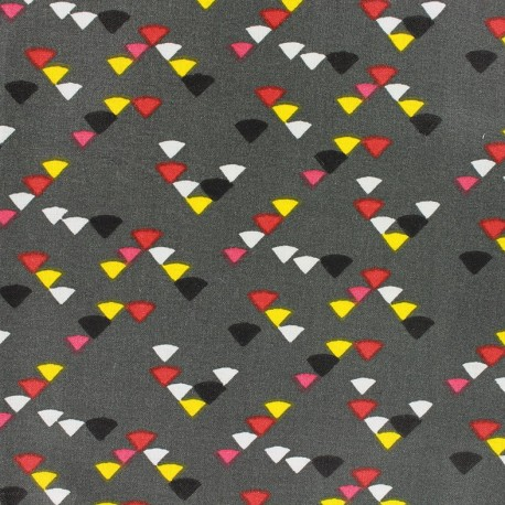 Coated cotton fabric Triangle multi - anthracite x 10cm