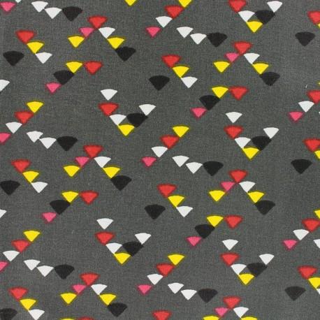 Tissu enduit coton Triangle multi - anthracite x 10cm