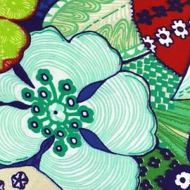 Tissu enduit coton Capucine - marine x 50cm