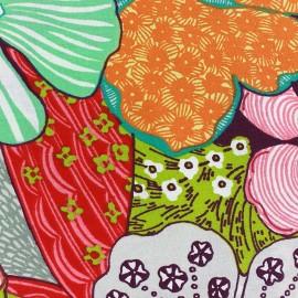 Tissu enduit coton Capucine - prune x 50cm