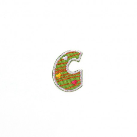 Embroidered iron-on patch Kids letters - C
