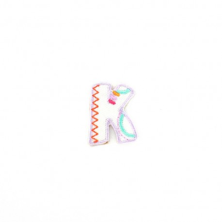 Embroidered iron-on patch Kids letters - K
