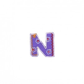 Embroidered iron-on patch Kids letters - N