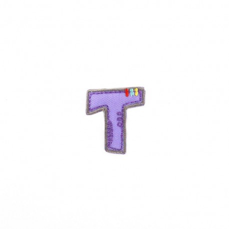 Embroidered iron-on patch Kids letters - T