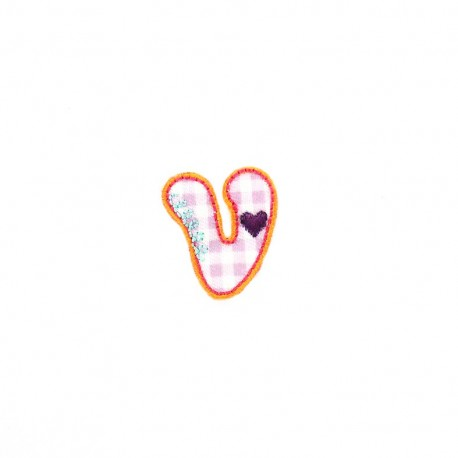 Embroidered iron-on patch Kids letters - U