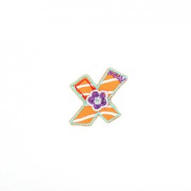 Embroidered iron-on patch Kids letters - X