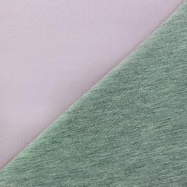 Tissu double jersey - rose brume/gris x 10cm