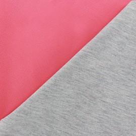 ♥ Coupon 200 cm X 140 cm ♥  Tissu double jersey - rose bonbon/gris